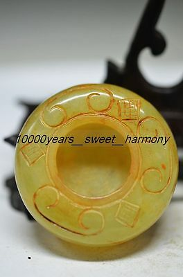 Delicate Chinese Natural Old Jade Hand Carved Round Brush Washer  G14