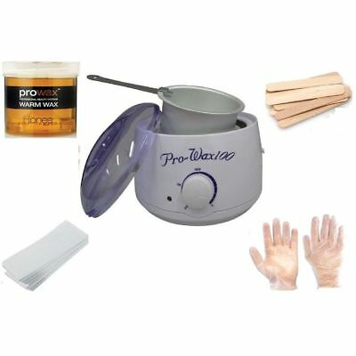 Depilatory Wax Kit Heater Wax Pot Spatula Strips Hair Removal Treatment