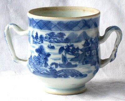 C18Th Chinese Blue And White Twin Handled Mug With A Temple And Lake Pattern