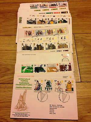 Job Lot of 54 UK GB FDC's First Day Covers from 1976 to 1982 Lot #A129