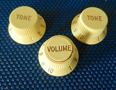 Fender Roadhouse Stratocaster Strat S-1 GUITAR KNOBS Volume Tone Aged Parchment