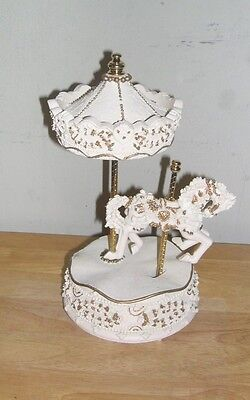 """Musical-Animated Carousel Horse ABC Item 11585 10"""" High.White/Gold"""