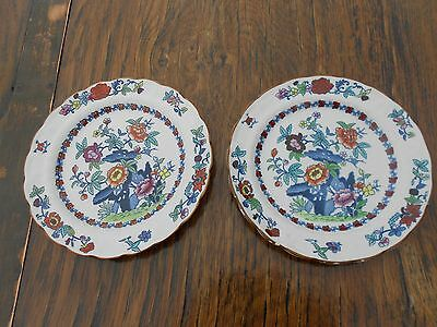 """1908 Booths Silicon China The Pompadour 2 Plates 7.5"""" diameter"""