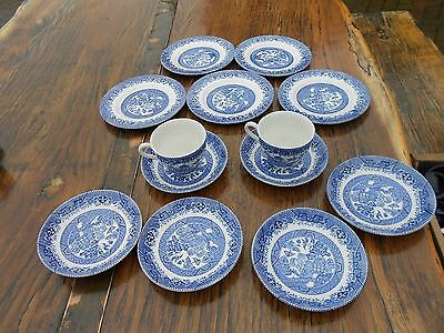 13 Pcs Vintage Barratts of Staffs Blue/White Willow Pattern, Cups/Saucers/Plates