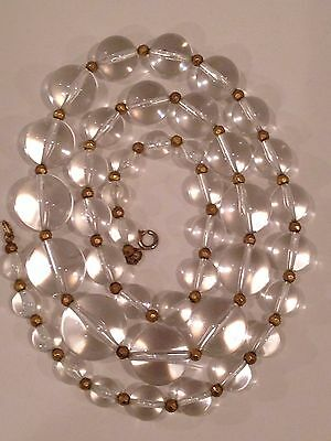 VERY LONG CLEAR LUCITE ROUND GRADUATED BEADS Vintage Necklace --  POOLS of LIGHT