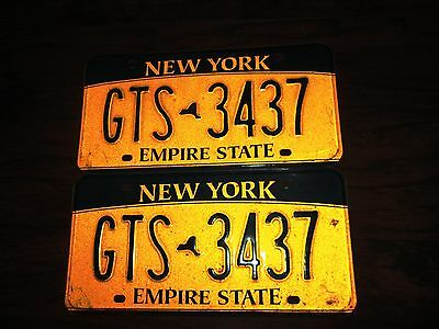 """Vintage Pair Of New York State License Plates """"gts 3437"""" Gold/black"""
