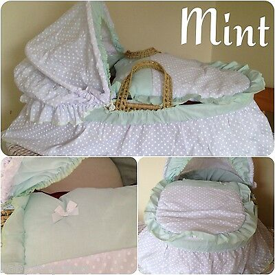Replacement Moses Basket Dressing Covers Bedding Set Mint/white Cotton Mix
