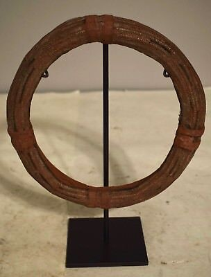 African Namibia Himba Woven Metal Leather Plant Fiber Red Ocher Neck Ring #2