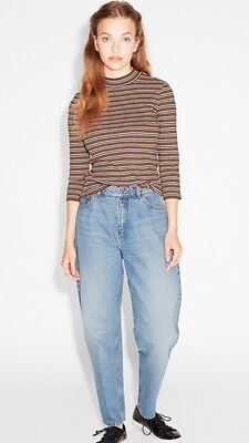 Monki Fitted 70's Striped 3/4 Sleeve Top