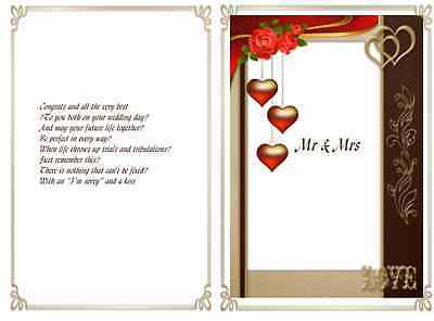 15 Assorted Wedding Day verse inserts for A6 cards