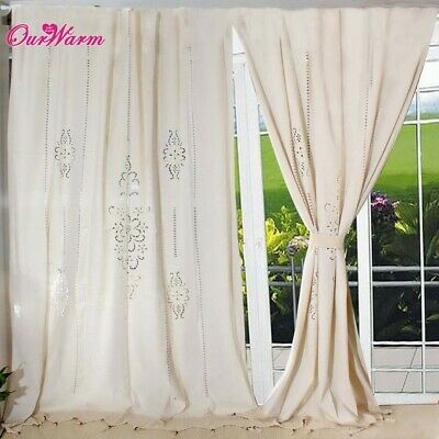 Tab Top French Country Cotton Linen Crochet Lace Curtains Vintage ...