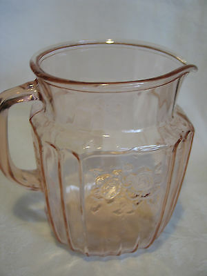 "Mayfair Pink Depression Glass Open Rose Handled 6"" Water, Juice Pitcher 32 Oz"