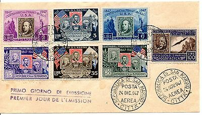 San Marino 1947 FDC Anniversary of First American Postage Stamp