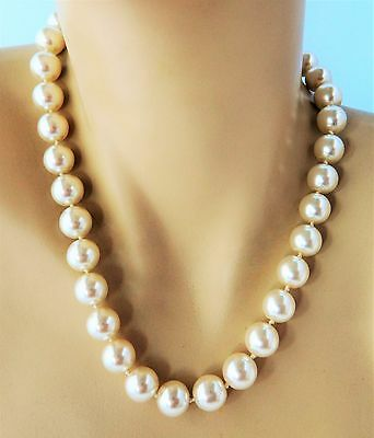 """Vintage Chunky Faux Pearl Statement Choker Necklace 18"""""""