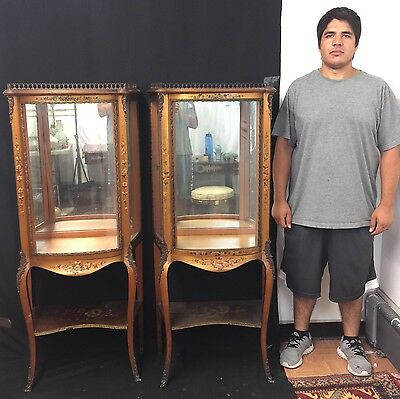 Gorgeous Pair of Antique French Wooden & Glass Showcases With Fine Details