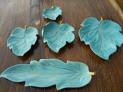 5 Pieces Vintage Carlton Ware Blue Leaf Pattern