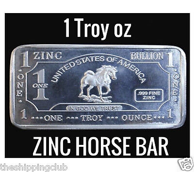1 x ZINC HORSE STALLION BAR 1 Troy oz Ounce .999 Fine Metal Bullion Ingot