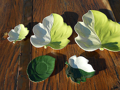 5 Pieces Vintage Carlton Ware Green Leaf Pattern