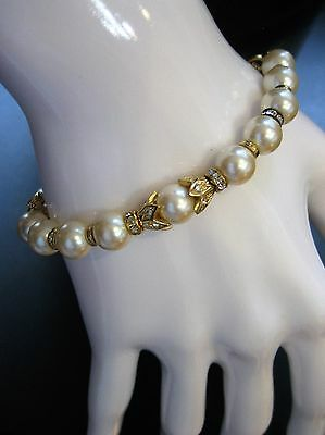"""Christian Dior Signed Crystal And Faux Pearl Bracelet 8"""""""