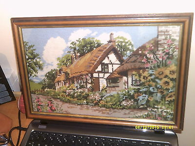 """Glass Framed Tapestry Picture Floral Garden Cottage Scene Size 16"""" X 11"""" Used"""
