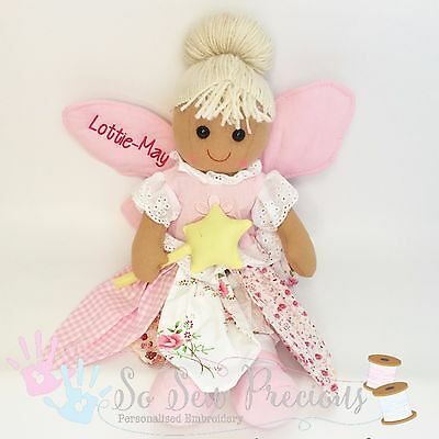 Personalised embroidered rag doll, fairy, christening gift, new baby 40cm