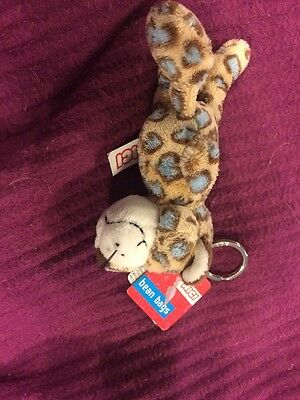 nici bean bags Leopard Keyring BNWT Brown With Blue Spots Item 26373