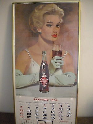 """Vintage """"rare"""" Royal Crown Rc Cola 1964 Picture Wall Calendar Framed - Nice"""