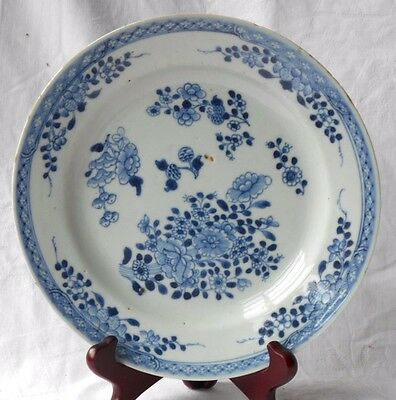 C18Th Chinese Blue And White Plate In A Floral Pattern Within A Border