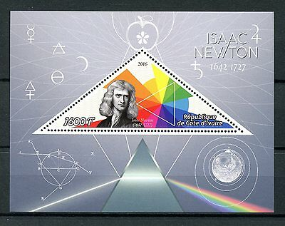 Ivory Coast 2016 MNH Isaac Newton 1v S/S Physics Science Stamps