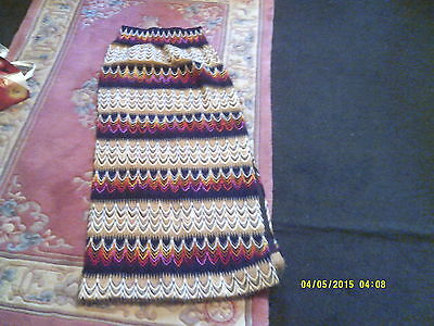 """Hand Made Vintage Maxi Skirt Stretch Waist Side Split And Zip W 24"""" L 45"""" Used"""