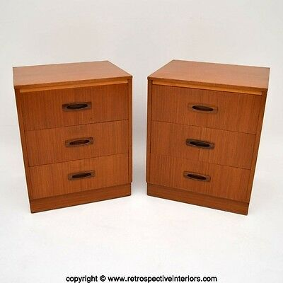PAIR OF RETRO TEAK & ROSEWOOD BEDSIDE CABINETS / CHESTS VINTAGE 1960's