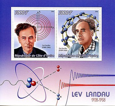 Ivory Coast 2016 MNH Lev Landau 2v M/S Physics Science Stamps