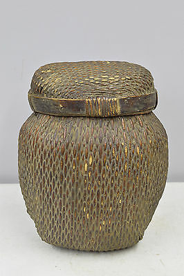Basket Chinese Heavy Rattan Antique Lidded Storage Grain Basket