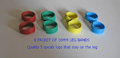 Spiral Chicken / Poultry Leg bands 4 colours 8 per packet  (3 loops) 16 mm