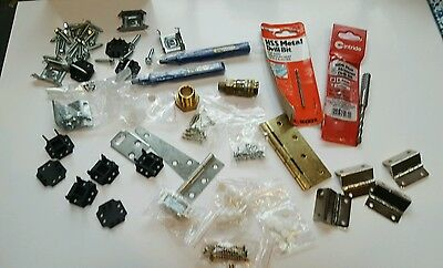 Job lot of screws, Drill Bits, Hinges,Brass fittings,tacwise staple removers etc