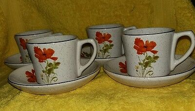 Kernewek poppy design cornish pottery . 4 cups & saucers