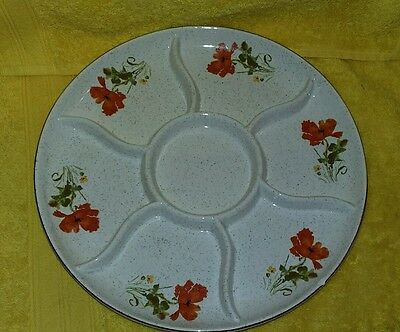 Kernewek poppy design  cornish pottery 6 sectioned plate