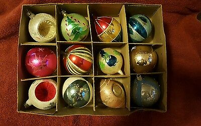 Vintage Christmas Tree Ornaments Poland Glass Indent Mica Striped Teardrop