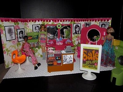 Retro Vintage Barbie Salon LOT Beauty House OOAK Pop Life Ash Blond Repaint Mod