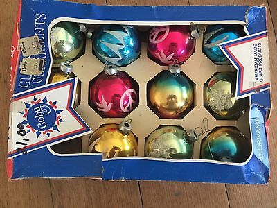 Vintage Vtg Antique COBY glass American Christmas Ornaments Baubles Decorations