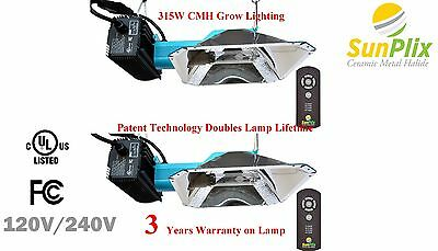 2-pack of IR remote dimming 315W CMH CDL grow light. 3 years warranty on lamp!