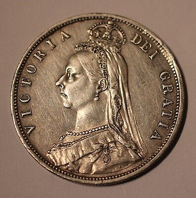 Gb Antique Queen Victoria 1887 Sterling Silver Half-Crown Coin Great Britain Uk