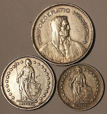 SWITZERLAND 1948B SILVER 5 FRANCS, SCARCE DATE + Silver 1921 2Fr + 928 1Fr Coins