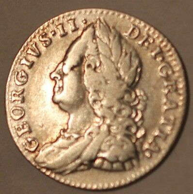 GB King George II 1758 Silver Sixpence 6d Fine. Rare Antique Coin