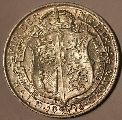 1916 George V .925 Silver Half-Crown Coin A/UNC? - Great Britain