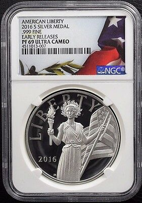 2016-S American Liberty 1oz .999 Fine Silver Medal Early Releases PF 69 DCAM NGC