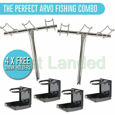 Boat Fishing Combo - Rod Holder 3 Way Stainless Steel + 4 x Drink Holders