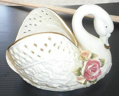 Beautiful Decorative Collectible White Swan Planter with Rose Embellishment