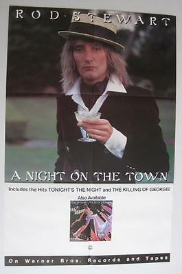 Rod Stewart A Night On the Town Unused 1976 WB Promo Poster Near Mint