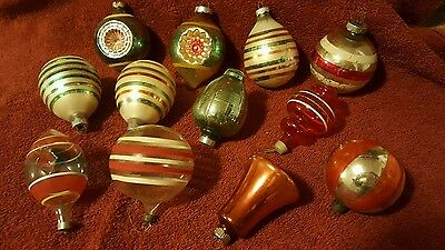 Vintage Christmas Tree Ornaments Poland Glass Indent Teardrop Bell Striped